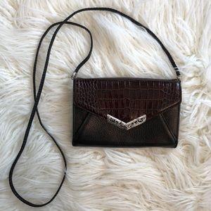 BRIGHTON black brown leather crossbody purse bag
